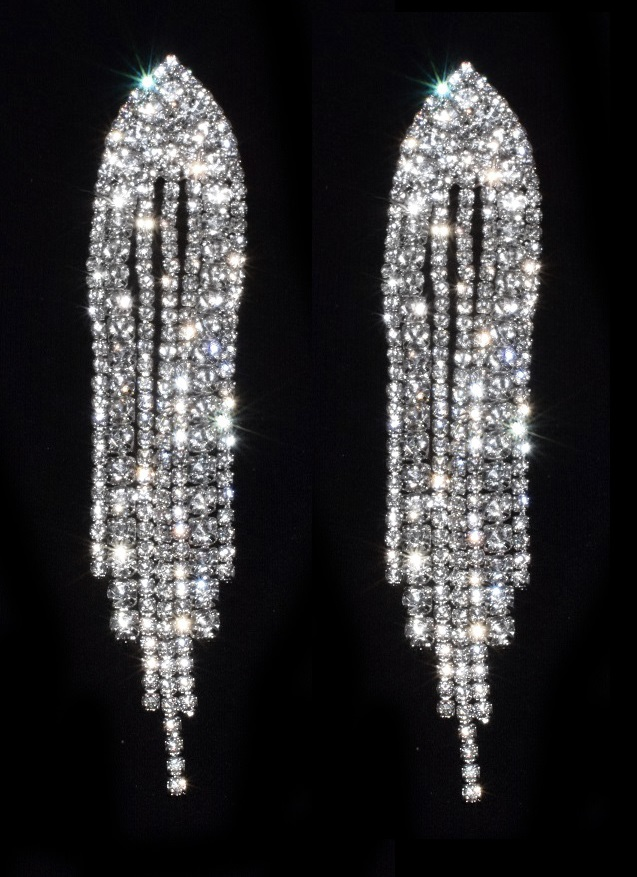 boucles d 39 oreilles clips chute de strass bijoux feminin. Black Bedroom Furniture Sets. Home Design Ideas